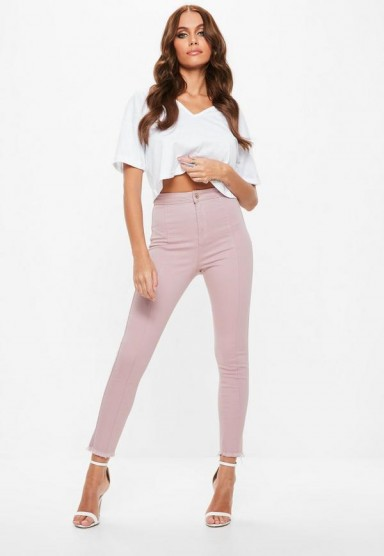 missguided pink vice soft fray hem skinny jeans – skinnies – denim – frayed – casual