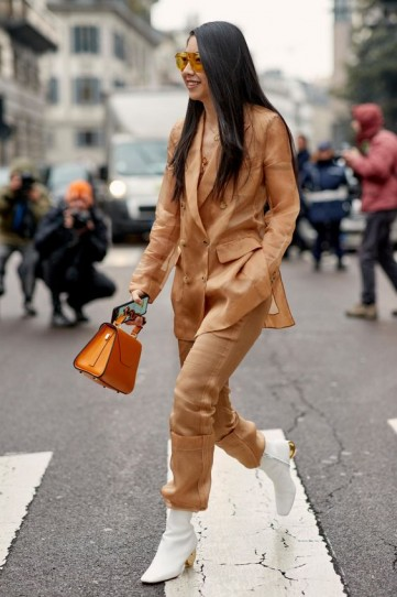 Sheer camel jacket and pants with white leather ankle boots – best street style outfits
