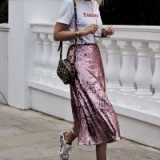 Pink sequin skirt, white tee and trainers…instant sports luxe outfit!