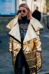 Oversized gold foil quilted coat ~ casual glamour