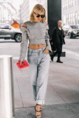 These light loose denim jeans on Sofia Richie look great with this grey check crop top and strappy heels… perfect for a chic street style outfit