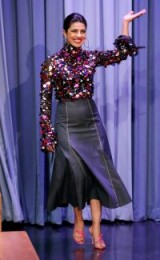 Priyanka Chopra sparkles in this multicoloured sequin top and dark denim midi skirt
