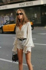 Printed fluted sleeve shirt and faded denim shorts – fab summer looks