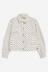 TOPSHOP Polka Dot Crop Denim Jacket