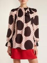 VALENTINO Polka dot-print silk blouse – bold spot fabrics