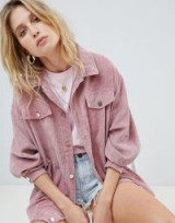 PrettyLittleThing Light Weight Cord Jacket in Rose Pink ~ casual oversized jackets