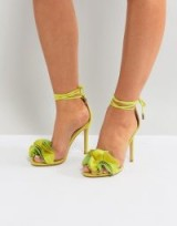 Public Desire Sugar Lime Heeled Sandals Lime Faux Suede – strappy – heels – ankle tie – ruffles