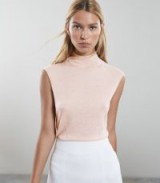 Reiss PURDY SLEEVELESS KNITTED TOP BLUSH | chic pale pink turtleneck