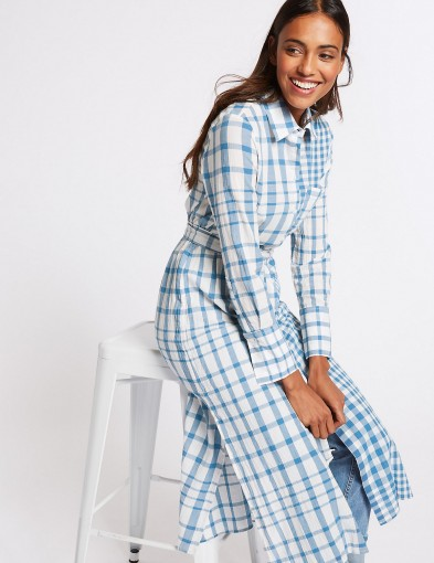 M&S COLLECTION Pure Cotton Checked Shift Maxi Dress ~ blue check print shirt dresses