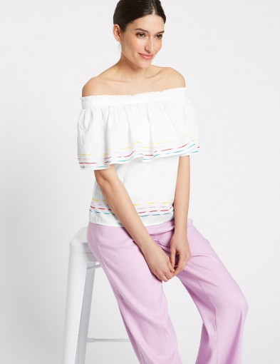 PER UNA Pure Cotton 3/4 Sleeve Bardot Top ~ off the shoulder tops ~ everyday summer style