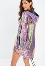missguided purple mermaid metallic rain coat – shiny festival cover-up
