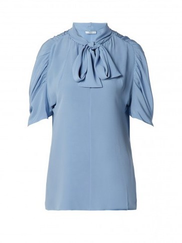 PRADA Pussybow silk blouse ~ ruched sleeves - flipped