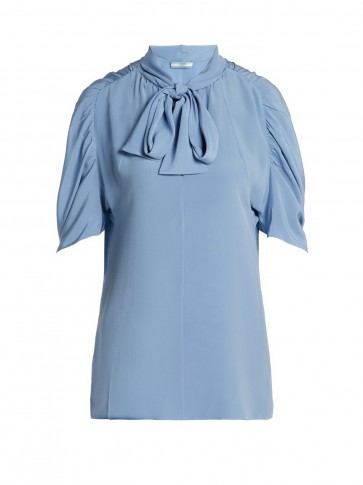 PRADA Pussybow silk blouse ~ ruched sleeves
