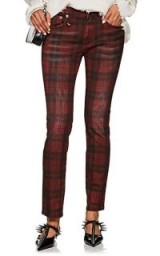 R13 Kate Plaid Skinny Jeans ~ red and black tartan print denim