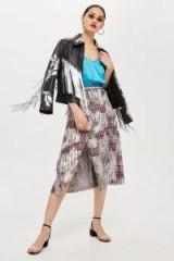 Topshop Rainbow Foil Midi Skirt | front slit