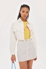 Topshop Raw Cropped Hem Denim Jacket | white frayed jackets