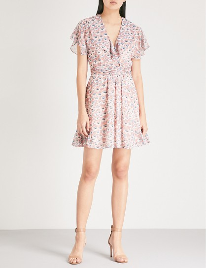 REISS Aime floral-pattern chiffon dress / pink floaty dresses