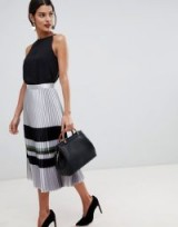 Reiss Sophia metallic stripe pleat skirt in silver ~ chic look