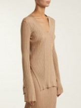 STELLA MCCARTNEY Ribbed V-neck sweater ~ chic knitted beige tops