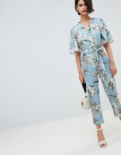 River Island Floral Print Tie Waist Jumpsuit Holiday Evening Fas