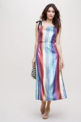 Rixo London Tessa Metallic-Striped Midi Dress ~ multicoloured sequins
