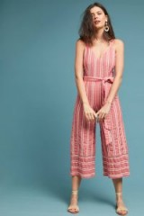 Robin Striped-Cropped Jumpsuit red motif | summer fashion