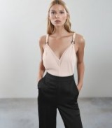 REISS ROCCO TIE-STRAP JUMPSUIT BLACK/PINK / chic eveningwear / feminine style fashion
