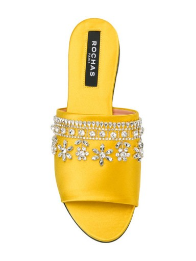 ROCHAS crystal-embellished yellow satin mules