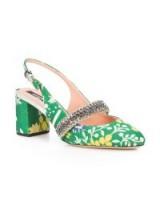 ROCHAS patterned slingback sandals – vintage style block heel shoes – floral patterns