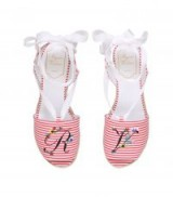 Roger Vivier Flower Embroidered Espadrilles 65 ~ red and white striped wedges