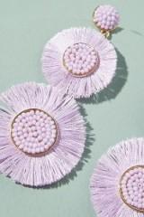 ANTHROPOLOGIE Romena Embellished-Tasselled Chandelier Earrings Lilac ~ summer statement