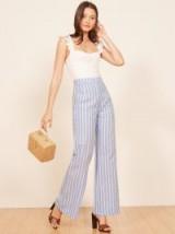 Reformation Romero Pant Barcelona | blue striped wide leg trousers | fresh summer looks