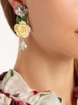 DOLCE & GABBANA Rose and crystal-drop clip-on earrings ~ feminine statement jewellery ~ beautiful Italian accessories