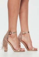 missguided rose gold chain tassel block heel metallic sandals – going out heels – evening shoes