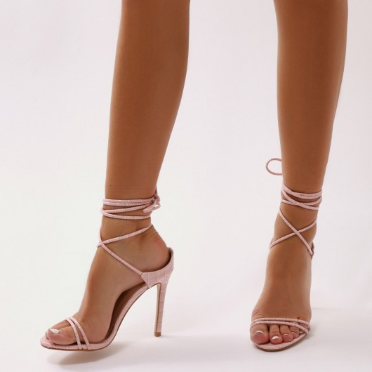 public desire RUDIE LACE UP HEELS IN PINK MOCK CROC – strappy – stilettoe heels – ankle ties – barely there