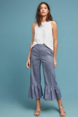 ett:twa Ruffled Chambray Trousers ~ frill hem lightweight denim pants