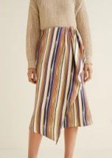MANGO Ruffled striped skirt | asymmetric wrap design