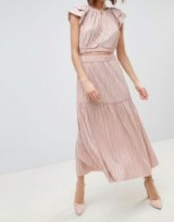 Sabina Musayev Metallic Crinkle Skirt in Blush ~ light pink metallics