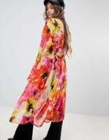 Sacred Hawk Floral Kimono ~ long sheer pink jackets