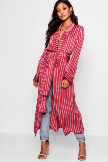 boohoo Saffron Satin Stripe Maxi Kimono – red – stripes – kimonos – day to night – silky coats