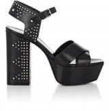 SAINT LAURENT Farrah Studded Leather Platform Sandals ~ silver tone studs ~ chunky platforms