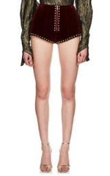 SAINT LAURENT Studded Burgundy Velvet Mini-Shorts ~ dome studs