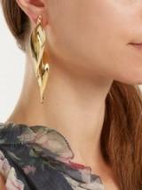 RYAN STORER Sansevieria twisted gold-plated earrings ~ leaf drop earrings ~ statement jewellery