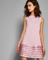 TED BAKER MARGGIA Satin loop shift dress in pale pink ~ pleated hem
