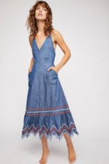 Free People Seaside Denim Midi Dress in Deep Blue | chambray fabric | boho sundress
