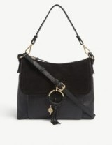 SEE BY CHLOE Joanne black leather and suede shoulder bag – chic accessory