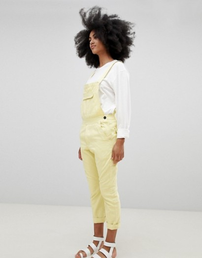 Seeker 5 Pocket Overalls in Organic Hemp Cotton in Sun – pale yellow dungarees