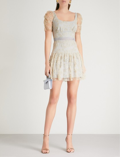 SELF-PORTRAIT Embroidered mesh mini dress Gold-Grey – luxe party wear