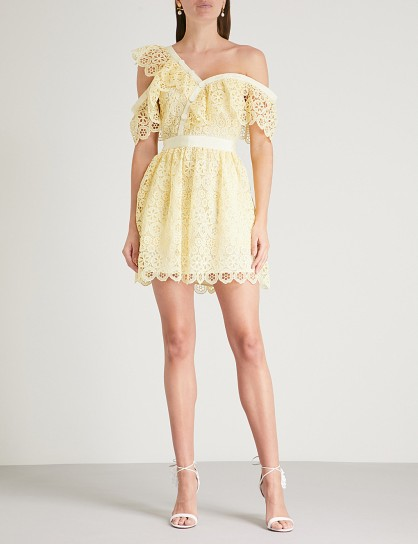 SELF-PORTRAIT Off-the-shoulder yellow guipure-lace mini dress – luxe party style