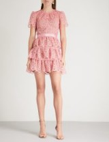 SELF-PORTRAIT Tiered pink lace mini dress – pretty party fashion